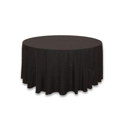 "Black Polyester 132"" Round"