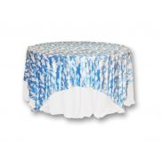 "Blue White Cloud Velour 90"" Square"