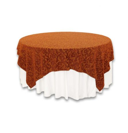 """Rust Gold Damask 80"""" Square"""
