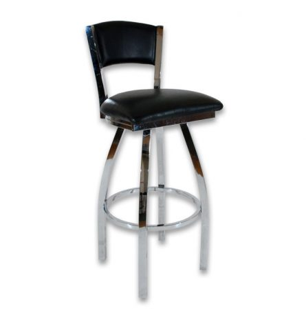 Black Chrome Stool with Back