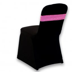Crushed Velour Chair Band Hot Pink