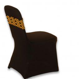 Diamond Pattern Spandex Chair Band Yellow