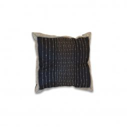 Navy Sequin Striped with Border Pillow Cover