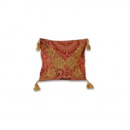 Red and Gold Lace Pillow Cover
