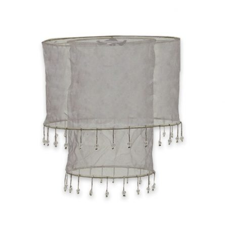 Silver Double Tier Chiffon Lampshade