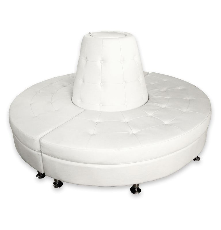 Round Banquette: White Leather Round Banquette Rental
