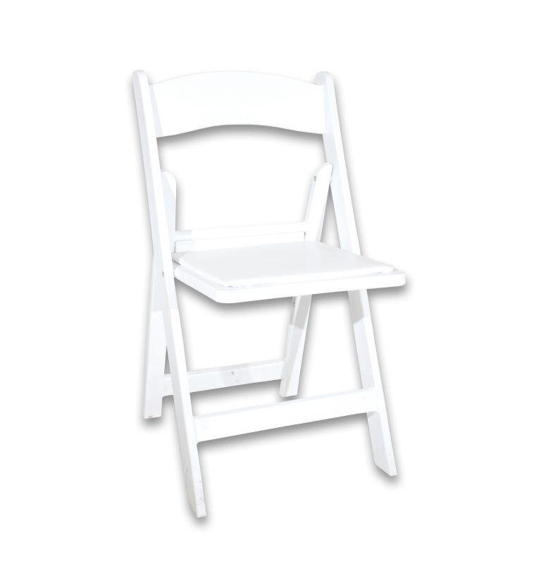 white padded folding chair rental pri productions inc